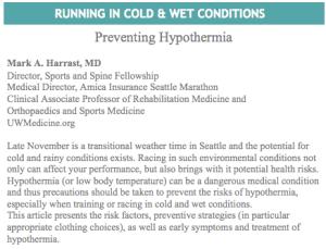 Seattle Marathon Hypothermia